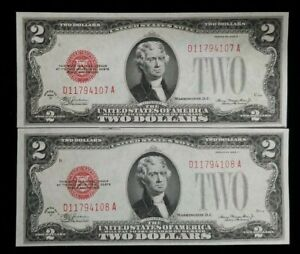1928-D $2 United States Notes (2) Piece Lot Sequential