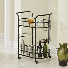 2-Tier Rolling Serving Cart Bar Wine Holder Glass Rack Shelf w/ Lockable Casters