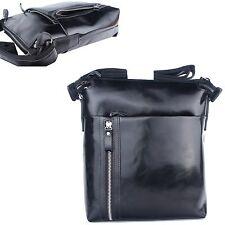 Genuine Leather Man Messenger Shoulder Bag Men Bag Small Business Bag Ble5614 Black