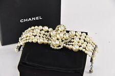 CHANEL White Metal Faux Pearl Bracelet w/ box -w was $1900 - Z11