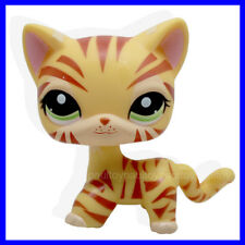 #1451 Rare Littlest Pet Shop Yellow Orange Tiger Cat Kitty Green Eyes LPS Toy B
