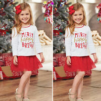 Toddler Kids Baby Girl Christmas T Shirt Tops Princess Skirt Dress Outfits Set