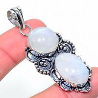 "Rainbow Moonstone Gemstone Handmade Ethnic Gift Jewelry Pendant 2.40"" Vs-2577"