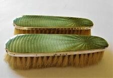 Antique Sterling Silver Olive Green Gilloche Enamel Pair of Vanity Brushes 1934