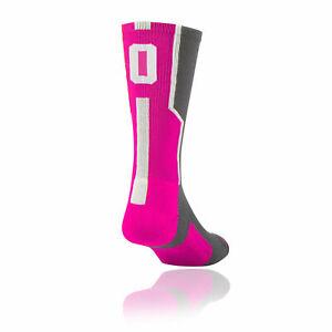 TCK Player ID Elite Jersey Number Sock HOT PINK (Blank,0-9) (Sold in SINGLES)