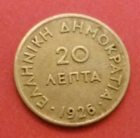 Greece Coin 1926-- 20 Lepta- Goddess Athina VF Condition