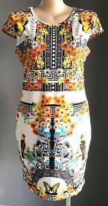 COMFORT by VOK Multi Colour Print Cap Sleeve Stretch Dress Plus Sizes 18,20 & 22