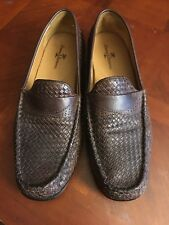 Tommy Bahama Mens 13 Espresso  Brown Woven Leather Slip On Penny Loafers Shoes