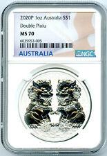 2020 P $1 AUSTRALIA .9999 1OZ SILVER NGC MS70 DOUBLE PIXIU