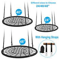 Round DURABLE Tree Web Spider Swing Net Platform Kids Play Set W/ Hanging Straps