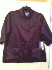 *Vera Wang Simply Vera* Midnight Plum Purple Jacket NWT 3/4 Sleeves Sz L Large