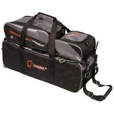 Hammer 3 Ball Roller Tote BLACK/CARBON Bowling Bag With Shoe Pouch