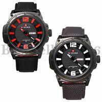 Men's Military Calendar Leather Band Waterproof Quartz Analog Wrist Watch Sport