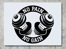 Gym No Pain No Gain Weights Fitness Exercise Wall Art Decal Sticker Picture Lrg