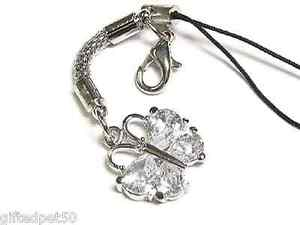 Clear Crystal Butterfly Charm / Cell Phone Jewelry!