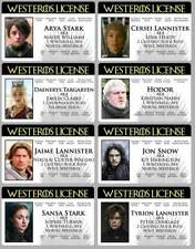 Game Of Thrones 8 Novelty Drivers License ID Cards Card Westeros