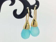 18K Gold on 925 Sterling Silver Aqua Chalcedony Faceted Stone Teardrop Earrings