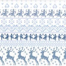 Nordic Stitches Blau Sno 39711 13  Moda Fabrics - 1/2 yard Blue white deer folk