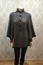 Peruvian Cape Sweater Black White Knit One Size Button Baby Alpaca Peruvian Euc