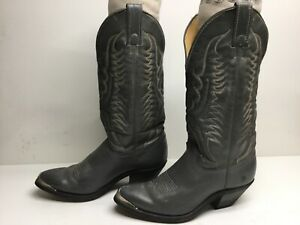 VTG WOMENS UNBRANDED TOE RAND COWBOY GRAY BOOTS SIZE 8 M
