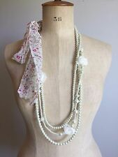 Long Faux Pearls and Flower Necklace with Tie-Back Fabric End