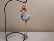 """Large Hand Painted Colorful Resin Flamingo Ornament ~ Cool Dude ~ 9 1/2"""" Tall"""