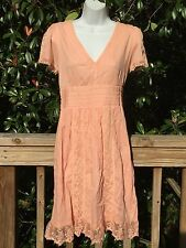 New_Beautiful Boho Cotton Dress with Laces_Peach