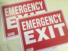 "Pair Large ""Emergency Exit"" Signs 16"" X 12"" Weatherproof Plastic. Business. Lot"