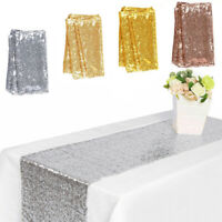 "12""x72"" Table Runner Table Flag Rectangle Tablecloth Sequins Wedding Party Decor"