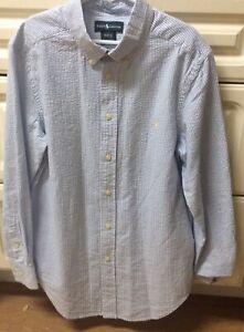 Ralph Lauren Blue & White SEERSUCKER Long Sleeve Shirt M 10-12 Boys POLO