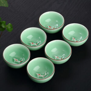 2pcs/lot porcelain pu'er tea cup fish relief cup of tea Longquan Celadon tea cup