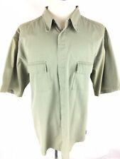 Jeep Mens Button Down Vtg Shirt 2xl Xxl Green Short Sleeve Safari Outdoor 80's