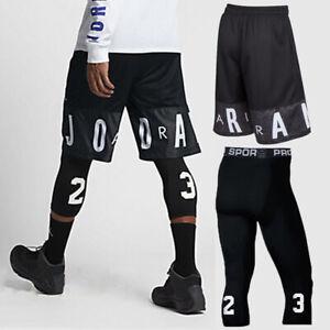 2pc Set Mens Shorts & Tights 23 Jordan Basketball Athletic Breathable Sportswear