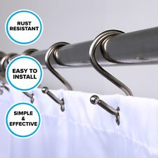 Brushed Silver Shower Curtain Hooks: 12 Rust Resistant Simple Shower S Hooks