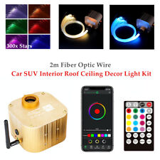 12V RGB Car SUV Interior Roof Ceiling Decor Light 2M Fiber Optic Wire 300×Star
