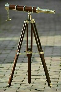 Nautical New Antique Brass Marine Telescope with Brown Wooden Tripod Stand Decor