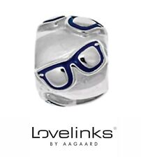 Genuine Lovelinks silver 925 blue enamel spectacles glasses bracelet charm bead