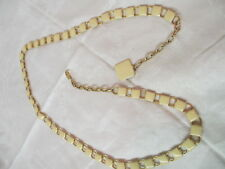 Vintage linked gold tone metal Belt with buff/yellow plastic/lucite tiles