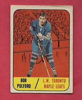 1967-68 TOPPS  # 19 LEAFS BOB PULFORD   CARD