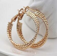 18K Gold Filled Earring Multilayer Geometric Cross Unique Ear Hoop Stud Party DS