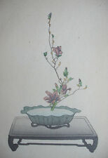 PURPLE MAGNOLIA : Old Japanese WOODBLOCK PRINT Art Ikebana Flower Arrangement