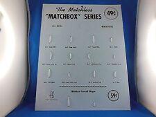 MATCHBOX, i primi 1-12 modelli, REPRO Stand/Display muro, USA, molto raro!
