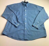 Eddie Bauer Men's Long Sleeve Button Up Shirt Large L Blue White Plaid Casual
