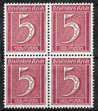 GERMAN Empire Stamps 1922  5 Pfg Purple-red, Block of 4, Unmounted Mint