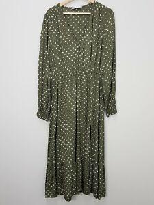 [ ZARA  ] Womens Polka Dot Print Midi Dress | Size XL or AU 16 / US 12