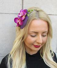 Purple Orchid Flower Fascinator Races Headband Headpiece Rockabilly 1950s 2381