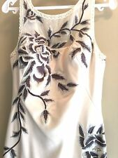 NEW $600 Sue Wong Yoke embroidered crepe Long floral dress Gown cream/grey 6