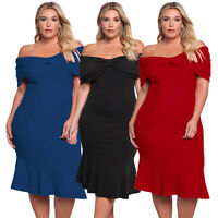 Pleats Bow Off Shoulder Plus Size Swing Midi Formal Casual Evening Party Dress