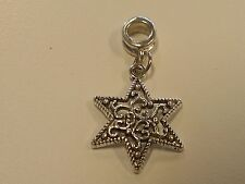 Alloy European Dangle Star Bead, Antique Silver, 35mm, Hole: 5mm, Jewelry Making