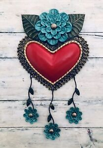 """Tin HEART with Hanging Blue Flowers, LG Punched Tin Floral Heart 16"""""""
